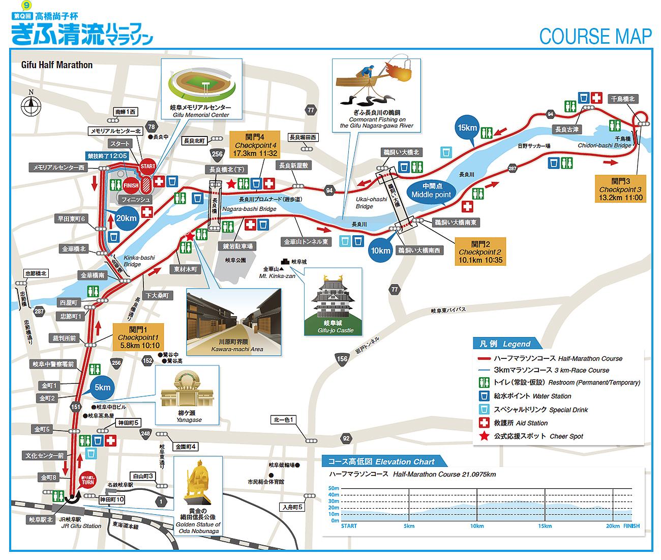 岐阜清流マラソンコース図です。