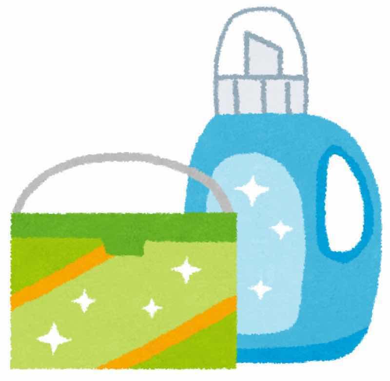 粉末洗剤と液体洗剤のイラストです。 粉末洗剤と液体洗剤ともにメリット、デメリットがあります。目的に応じて使用することが必要です。