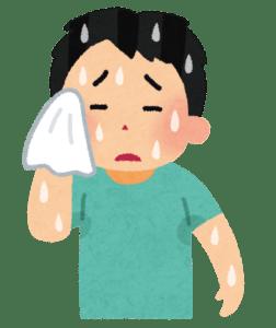 汗をかいた人のイラストです。大量の汗をかいて汗をタオルで拭いています。