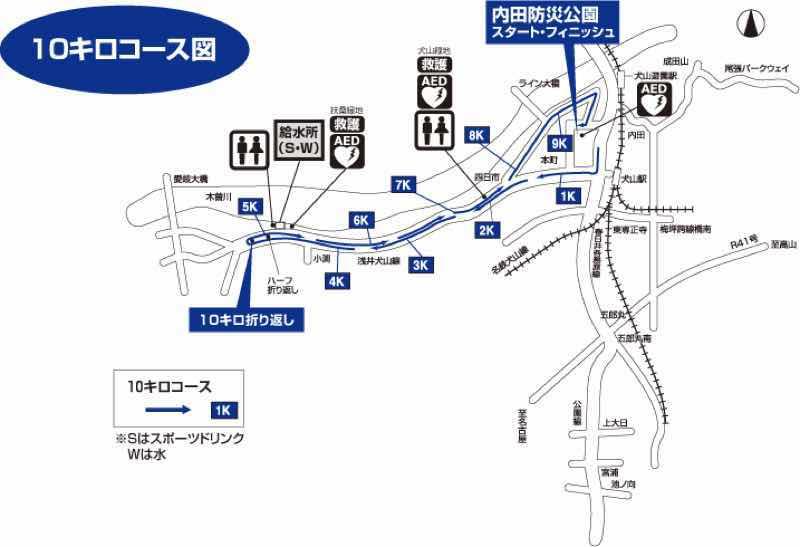 読売犬山ハーフマラソンの10kmの部のコースの概要です。