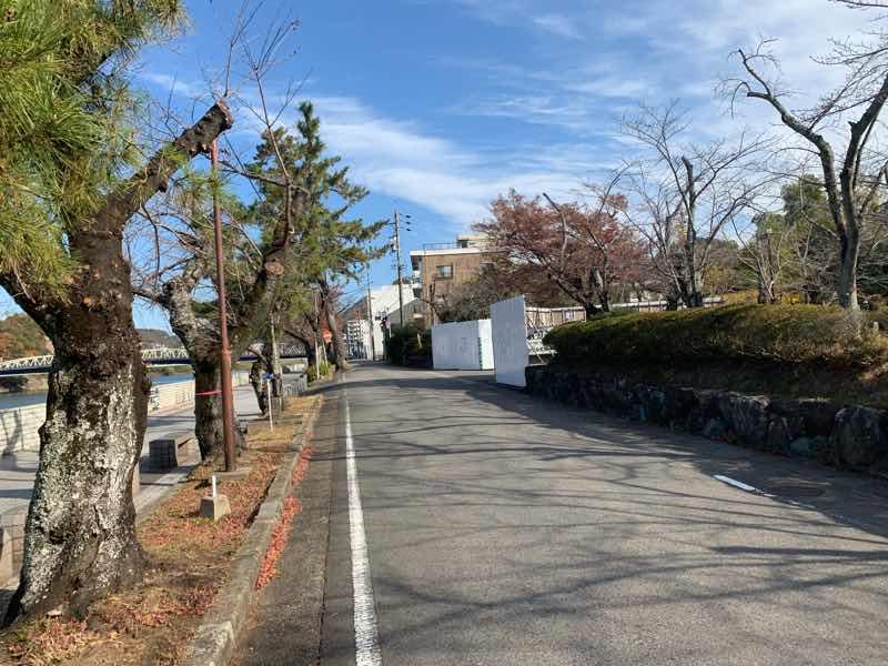 読売犬山ハーフマラソンのコース(ゴール周辺)の写真です。