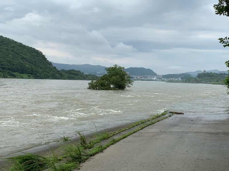 大雨が続いて水量が増した木曽川の様子です。写真の左側には国宝犬山城が見えます。 木曽川は普段の水量の倍はあります。