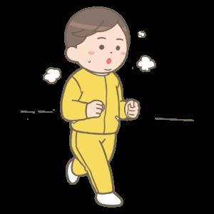 ダイエットを目標に走る人の画像です。たくさん汗をかいて走り、体重の減少を目指しています。走れるカラダづくりが優先です。