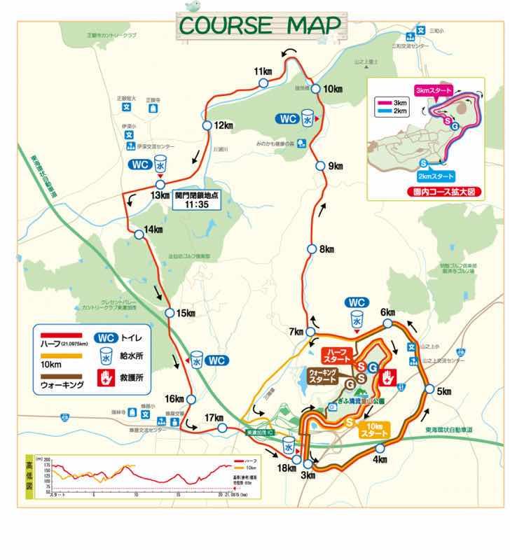 みのかもハーフマラソン大会のコースマップです。公式HPから引用した画像です。