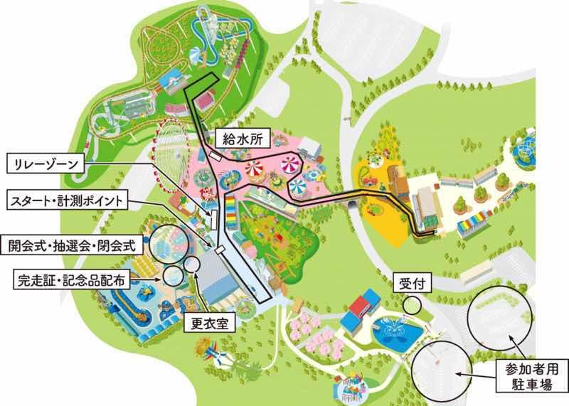2時間耐久マラソンのコース図です。日本モンキーパーク内がコースとなっていて園内を楽しみながら走れます。
