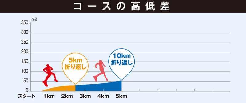 第28回ふじえだマラソンのコースの高低差の画像です。10Km、5Km、3Kmジョギングのコースの高低差を紹介している画像です。