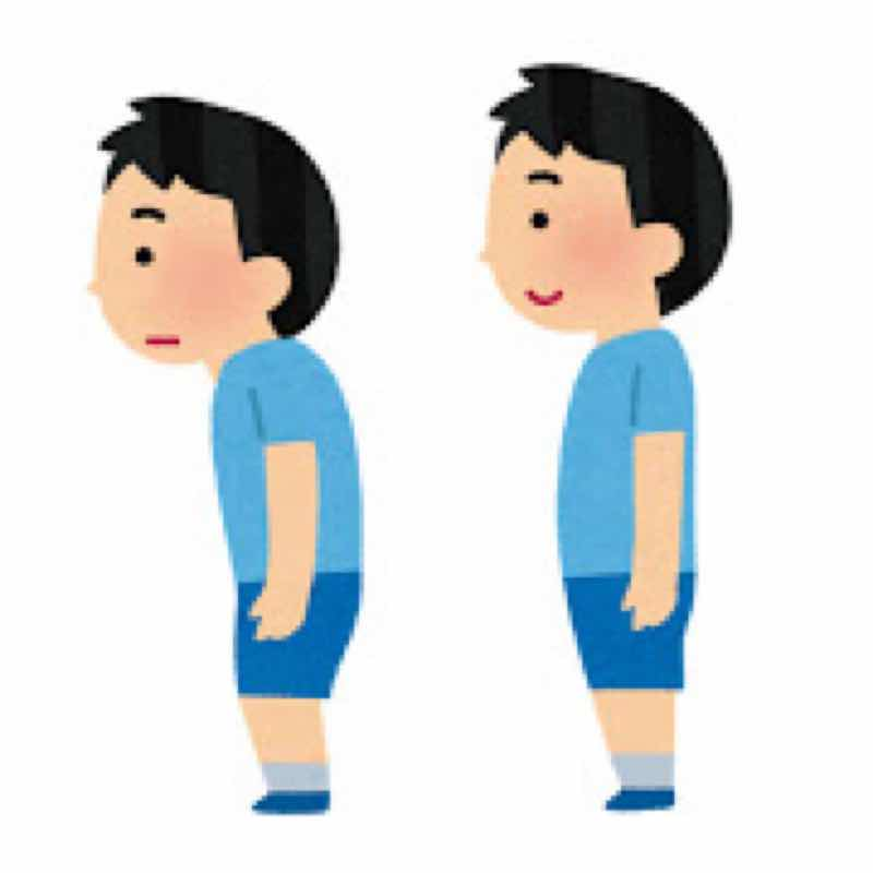 姿勢の悪い人と姿勢のいい人の姿勢をイラストで比較しています。姿勢の悪い人に腰痛を生じる可能性が高いです。
