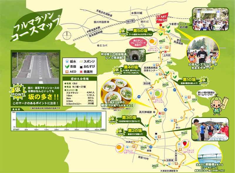 掛川・新茶マラソンのコースの案内です。掛川・新茶マラソンの名物の坂の場所や、エイドの場所の紹介がされています。