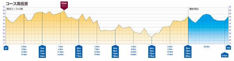 静岡・掛川 Trial Marathon Halfのコース(高低差)図です。
